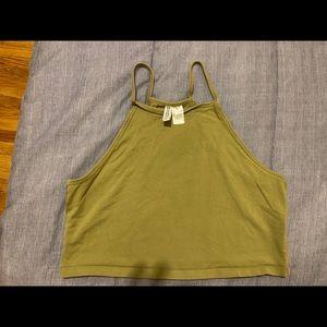 H&M crop tank top, army green